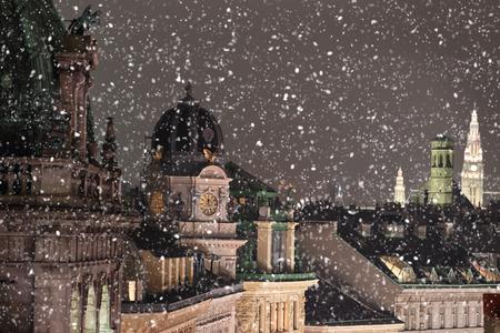눈이 비엔나 옥상 도시 풍경 스톡 콘텐츠