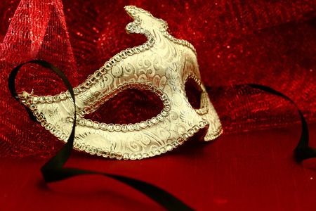 Vintage carnival mask in red background Stock Photo