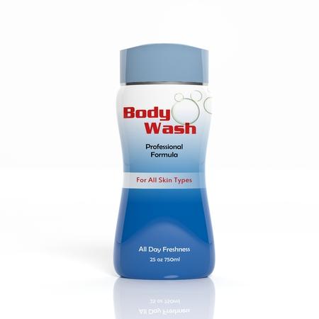 body wash: 3D Body Wash plastic bottle isolated on white background
