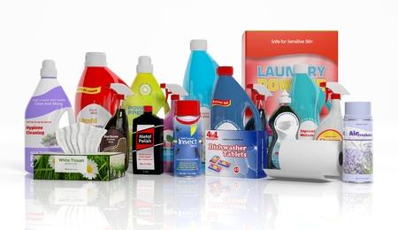 3D recolección de productos de limpieza del hogar aislado en el fondo blanco