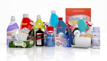 3D collection of household cleaning products isolated on white background Archivio Fotografico