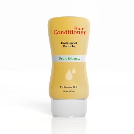 hair conditioner: 3D Hair Conditioner plastic bottle isolated on white background