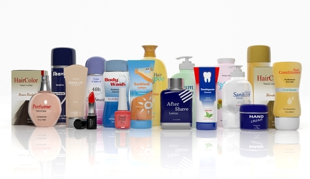 3D Sammlung von Beauty-Produkte isoliert auf weißem Hintergrund