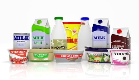 packaging design: 3D collection of dairy products isolated on white background