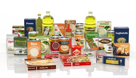 3D collection of packaged food isolated on white background Foto de archivo