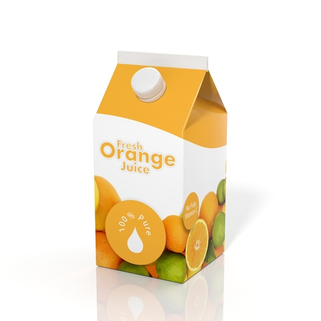 jugos: Caja de cart�n de jugo de naranja 3D aislada en el fondo blanco Foto de archivo