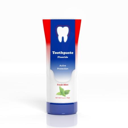 pasta dental: Tubo de plástico 3D Pasta de dientes aislados sobre fondo blanco Foto de archivo