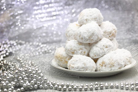 icing sugar: Traditional Christmas cookies with powdered sugar
