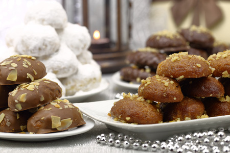 small cake: Various Christmas traditional desserts on the table