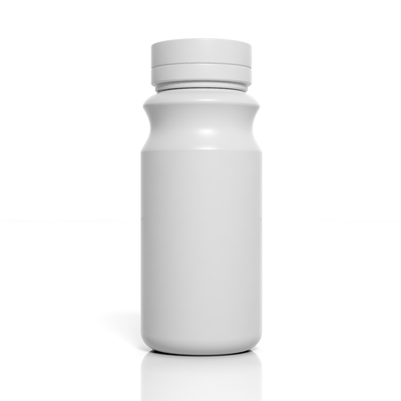 product display: 3D blank product bottle mockup isolated on white Stock Photo