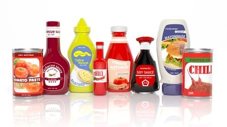 Verschiedene 3D-Tabelle Sauce Produkte isoliert auf weiß Standard-Bild