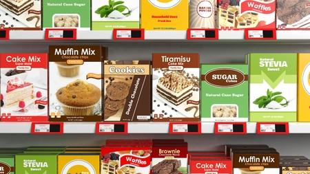 Verschiedene 3D Süßigkeiten Produkte im Supermarktregal