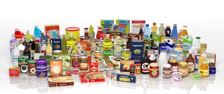 abarrotes: Diversos productos comestibles 3D aislados en blanco Foto de archivo
