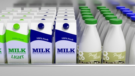 Various 3D milk containers on refrigerator shelve Stock Photo