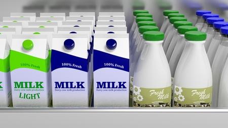 Verschiedene 3D-Milchbehälter auf Kühlschrank Regal