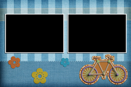 bike cover: Decorative template with photo frames. Scrapbook, photobook concept Stock Photo