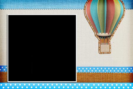baptism background: Decorative template with photo frames. Scrapbook, photobook concept Stock Photo