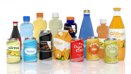 Various 3D beverages products isolated on white Archivio Fotografico