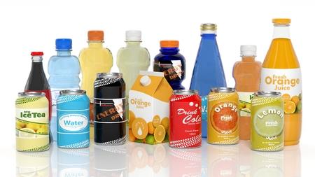 Varios productos de bebidas 3D aislados en blanco
