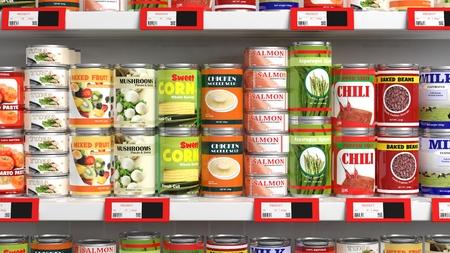 Verschiedene 3D können Lebensmittel im Supermarktregal