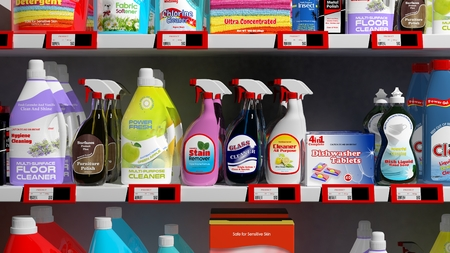 Various 3D household products on supermarket shelve Stock Photo