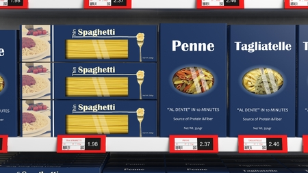 Various 3D pasta boxes on supermarket shelve