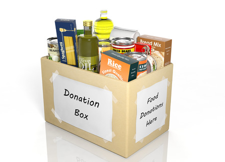 Caja de donación cartón completo con productos aislados en blanco