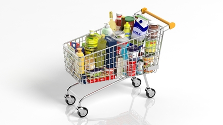 shopping trolleys: Full with products supermarket shopping cart isolated on white background Stock Photo