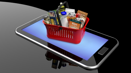 super market: Shopping hand basket full with products on smartphonetablet screen