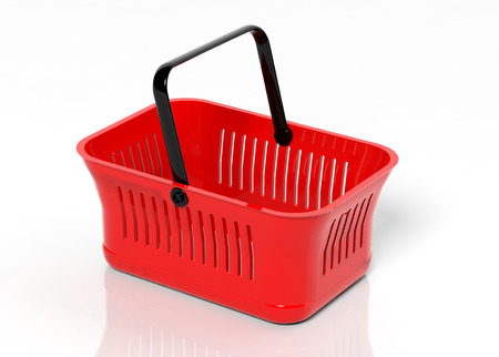 hand basket: Empty shopping hand basket isolated on white background