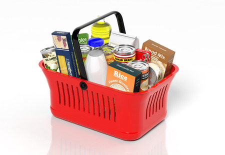 Shopping hand basket full with products isolated on white Standard-Bild