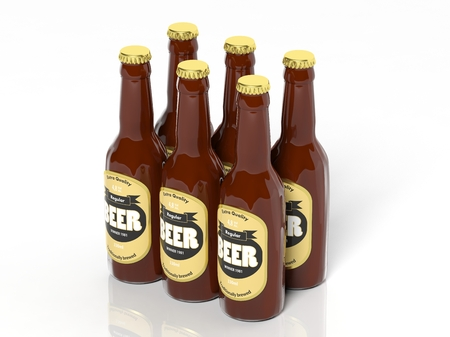 6 pack beer: 3D six pack collection of beer glass bottles isolated on white Stock Photo