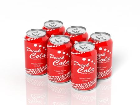 cola canette: 3D collection de six pack de canettes de cola isol� sur blanc Banque d'images