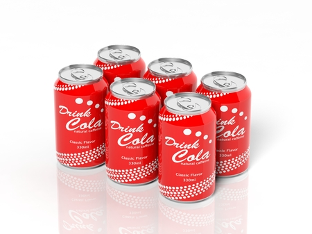 6 pack: 3D six pack collection of cola cans isolated on white