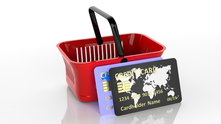 super market: Shopping hand basket with two credit cards isolated on white