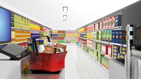 Supermarket interior with cash machine and groceries Stock Photo