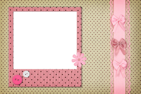 polka dot fabric: Photo frame on polka dot background