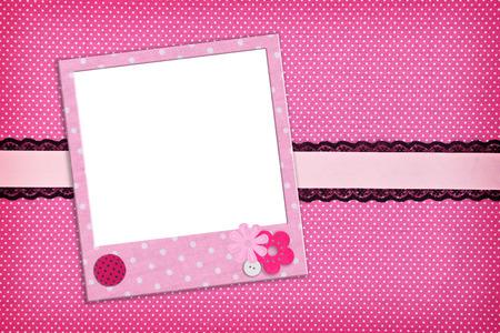 baptism background: Photo frame on pink polka dot background Stock Photo