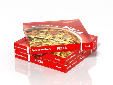 3D pizza boxes isolated on white background 免版税图像 - 35758207