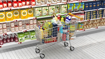 Supermarket interior and shopping cart with various products