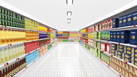 pracoviště: Supermarket interiér s policemi a různými produkty