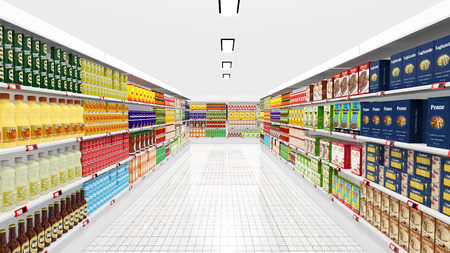 supermarkets: Supermarket interior with shelves and various products