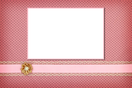 Photo frame on pink polka dot background Stock Photo