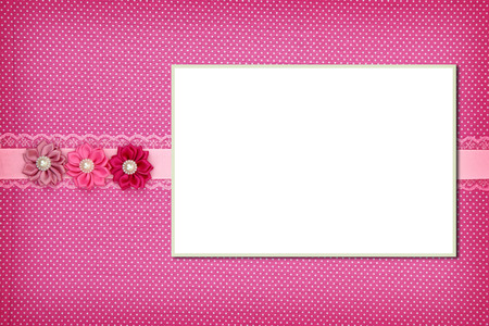 wedding photo frame: Photo frame on pink polka dot background Stock Photo