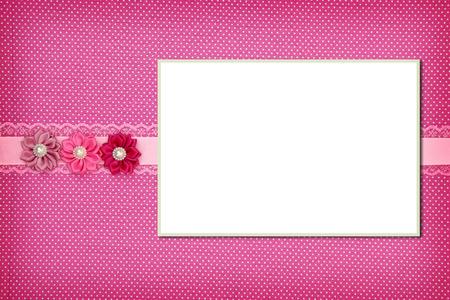 Photo frame on pink polka dot background 免版税图像 - 35758212