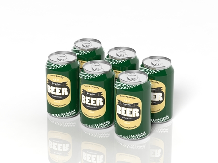 6 pack: 3D six pack collection of beer cans isolated on white
