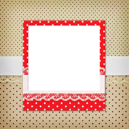 polka dot fabric: Photo frame on polka dot background