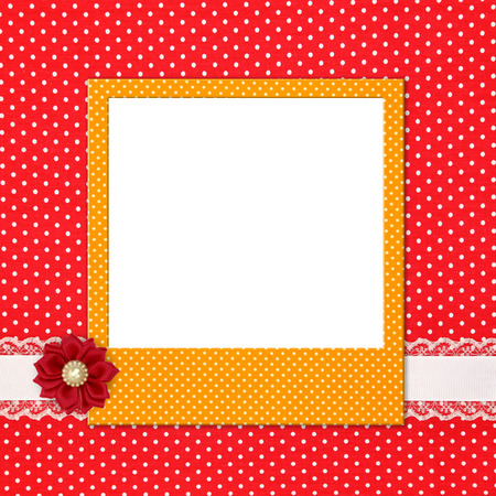 photo paper: Photo frame on polka dot background