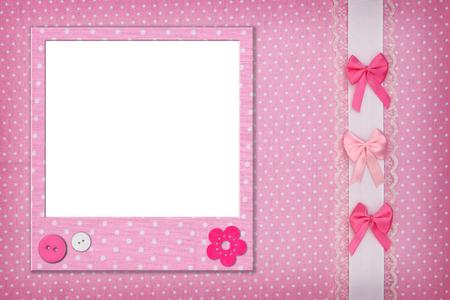 Photo frame on pink polka dot background Foto de archivo