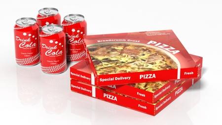 cola canette: Cola des bo�tes et des bo�tes de pizza 3D, isol�, blanc